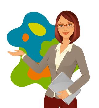 Stojąca kobieta wskazuje ręką trzymając laptopa.