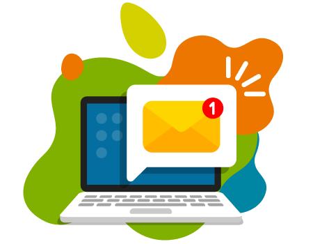 Laptop z ikoną wiadomości oraz powiadomieniem.